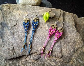 Lotus macrame earrings boho yoga jewelry zero allergy hooks handmade by Creations Mariposa