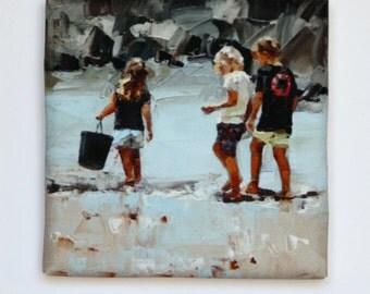 Tiny Canvas Trio | Beach Art | Canvas Prints | Wall Art | Children Playing | Small Art Prints | Present | Collectible Art | Art Gift