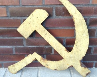 Soviet Hammer and Sickle metal sign, USSR Russian military base gate ornament, rusty, shabby, chippy paint, cold war militaria, collectible