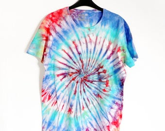 Rainbow Blue, Green and Red Spiral Tie-Dye T-shirt