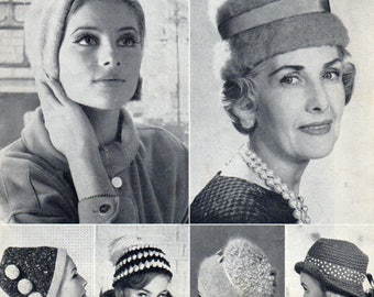 Ladies Hats, P & B 9100 Vintage Knitting Pattern Booklet.