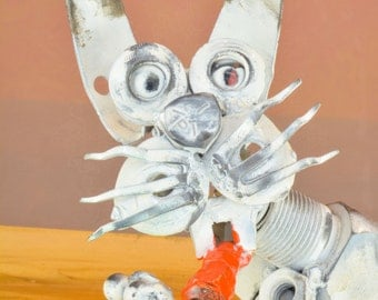 bunny,steam,steampunk,home,industriel,artistelestordus,sculpture,scrap metal,collection,collector,gift,propeller,robotic