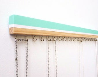 Necklace Holder - Beach Decor - Jewelry Organizer Wall - Mint - Minimalist Art - Beach Art - Wood Wall Art - Wood Jewelry Holder