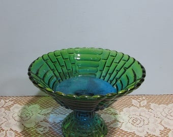 Green and Blue Pedestal Candy Dish  ~ Jeannette Glass Candy Dish ~ Flashed Glass Bowl ~ Country Charm ~ Fruit Bowl ~ Dessert Serving Bowl