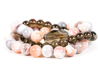 Peach Botswana Agate Bracelet, Gemstone Statement Bracelet, Stretch,  Gemstone Bracelet, Handmade Jewelry, Gemstone Jewelry