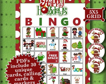 Happy Holidays 5x5 Bingo 30 Cards printable PDFs contain everything you need to play Bingo.