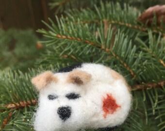 Felted Dog Brooch/ Felted Dog Pin