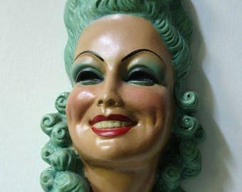 Vintage Chalkware 3D Wall Plaque Aqua Underwater Rococo Woman's Glamour Head!