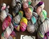 "Moon Pie Merino 75/25 Hand-Dyed Speckled Sock Yarn -463yds ""Rebel Girl"""
