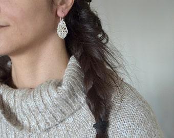 Silver lace drop earrings, Sterling silver earrings, lace jewelry, wedding earrings, angel wings