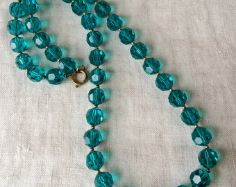 vintage Czech Crystal Necklace, Teal Faceted Crystal, Matinee Length, PK153