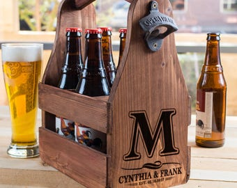 beer caddy personalized, 5 year anniversary gift, beer carrier, wood beer crate, anniversary gifts for him, Man cave, gifts for beer lover