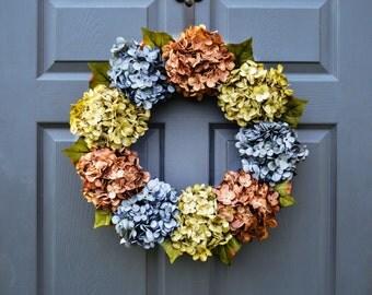 Blue Hydrangea Wreath | Beautiful Hydrangea Wreath | Summer Wreaths | Front Door Wreaths | Door Wreath | Housewarming Gift