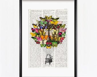 BUTTERFLIES hot AIR BALLOON, Butterfly Airship, Victorian art, Vintage prints, butterflies art, wall decor, prints, whimsical decor, #210