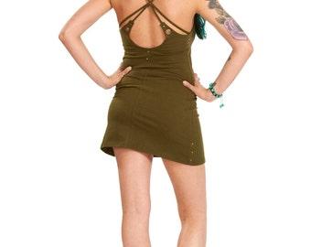GREEN TRIBAL DRESS, zen clothing, yoga dress, festival mini dress, petite psy trance dress, eyelets boho spiritual sacred geometry clothing