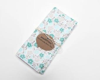Grey and Mint Floral Pocket Square - Grey Floral Pocket Square - Grey Pocket Square - MInt Floral Pocket Square - Mint Pocket Square