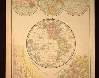 Antique Map Western Hemisphere Map North America 1800s 1890