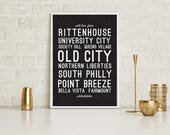 Printed With Love From Philly Philadelphia Wall Art Poster | Modern, Typography Design Illustration, Sign, Home Office Kitchen Decor