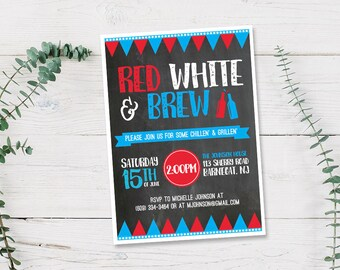 Red White and Brew 4th of July BBQ Invitation Printed Cards or Printable Digital PDF | Backyard, Rustic,  Beer, Party Family, Summer, Cute