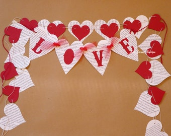 Valentines decor, Love heart garlands, Wedding, Bridal shower, Hen do, Engagement party, Photo props