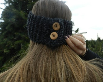 Knit Headband with Buttons
