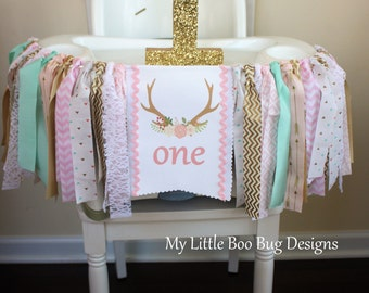 Tribal Boho chic highchair banner, Little Deer 1st birthday, cake smash photo prop, wild one, 1st birthday girl, Pink Gold pow wow tee pee