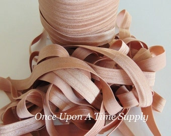 Sand Fold Over Elastic for Baby Headbands - Up To 5 Yards of 5/8 inch FOE - Craft Embellishment - Solid Color Tan Camel Elastic By The Yard