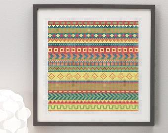 Aztec Pattern Cross Stitch Pattern, Instant Download