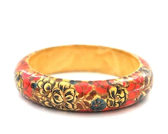 Vintage Hand Painted Wood Bangle Bracelet