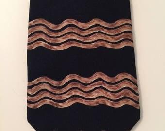 Vintage Designer 100% Silk Black Print Necktie Perry Ellis Portfolio Made in USA