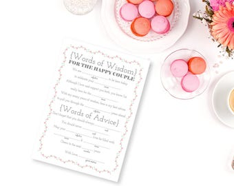 Printable Wedding Libs, Words of Wisdom, Advice for the Couple, Wedding Mad Libs, Reception Mad Libs, Printable PDF, Wedding Printables, DIY