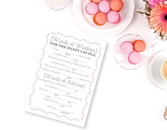 Printable Wedding Libs, Words Of Wisdom, Advice For The