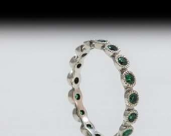 Gold Eternity ring set with Green Emerald - Eternity emerald band - may birthstone