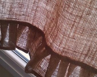 """Ruffled Burlap Curtain -Burlap Drape - Cafe Curtain with Ruffle - Burlap Valance - Burlap Kitchen Drape - Rustic Curtain 53"""" x 24"""""""