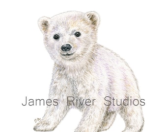 Polar Bear Art Polar Bear Painting Arctic Bear Print White Bear Wall Decor Arctic Nursery Decor Baby Bear Cub Neutral Color Watercolor Art.