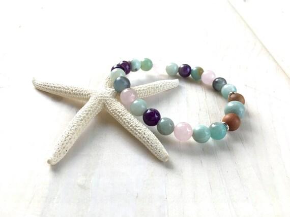 Amethyst Rose Quartz and Amazonite Bracelet, Mixed Sandalwood and Gemstone Bracelet, Match Your Mala Bracelet, Healing Jewelry