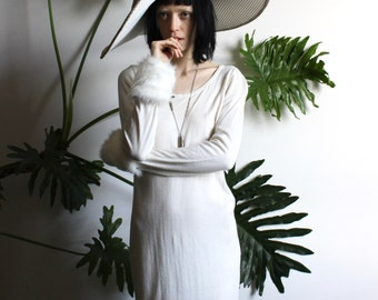Carmen Valvo Fur Trim Dress - YAS