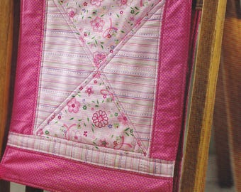 Pink Tie-on Quilted Kitchen Dining Chair Back Cover