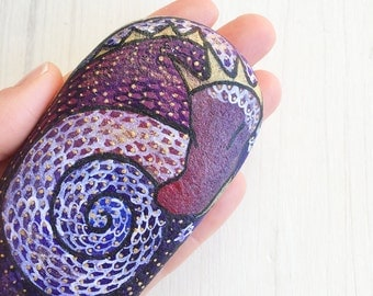 Purple dragon handpainted on stone Collectible Fantasy Art