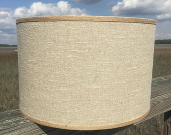 natural linen lamp shade large drum shade table lampshade custom lamp shade