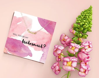 Will You Be My Bridesmaid Card, bridesmaid invite, bridal party invitation, dainty necklace, bridesmaid jewelry, maid of honor proposal