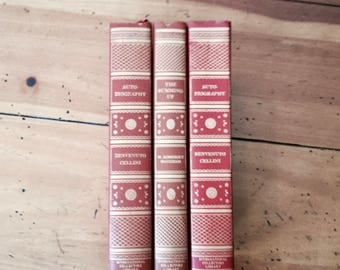 Set of 3 Classic Decorative Leather book, Vintage Book decor, International Collectors Library, Wedding decor