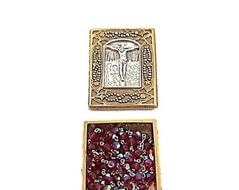 Vintage Red Crystal Rosary with Gold Prayer Box |  Vatican Library Collection Catholic Rosary Beads Mary and Jesus