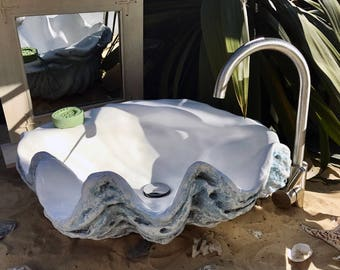 Aquamarine Blue Giant Clam Shell Bathroom Sink Wash Basin Counter Top  Cloakroom