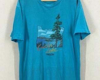 Vintage 80's Crater Lake Oregon Super Soft 50/50 Tshirt Sz L