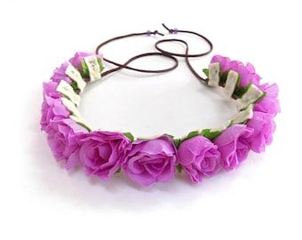 The Ramblin' Rose flower crown in light purple, pretty purple rose crown, Coachella flower crown, Lana del Rey floral halo