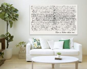 Cotton anniversary Gift, sheet music notes wall art, old music sheet, RockinCanvas