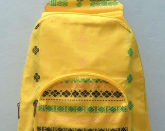 Yellow woven design cotton back pack