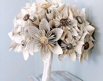 Paper Wedding Bouquet, Alternative Bouquet, Kusudama bouquet, Origami bouquet, Book page flowers, Book page bouquet, Wedding bouquet