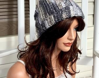 Marble Cuffed Crochet Beanie, Winter Hat in Black and White for Women, Men or Teens, Warm Winter Slouchy Beanie, Crochet Hat